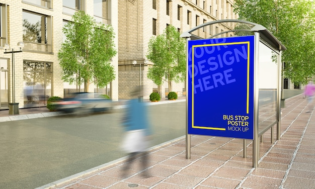 Billboard with music fest advertising at bus stop on the street 3d rendering Premium Psd