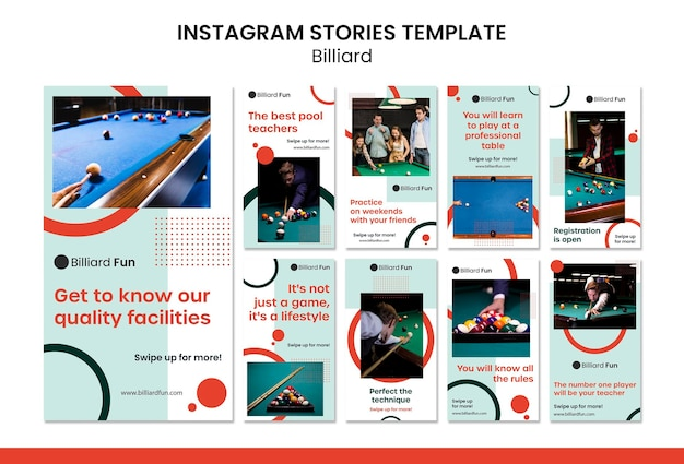 Billiard concept instagram stories mock-up Free Psd