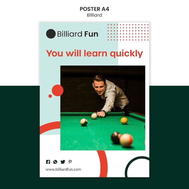 Billiard concept poster mock-up Free Psd