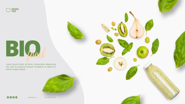 Bio food banner template with photo Free Psd