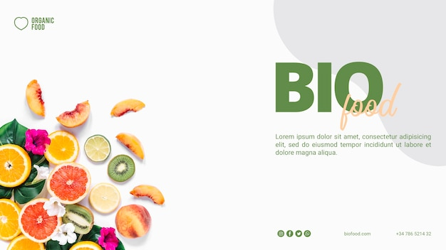 Bio food banner template with photo Premium Psd