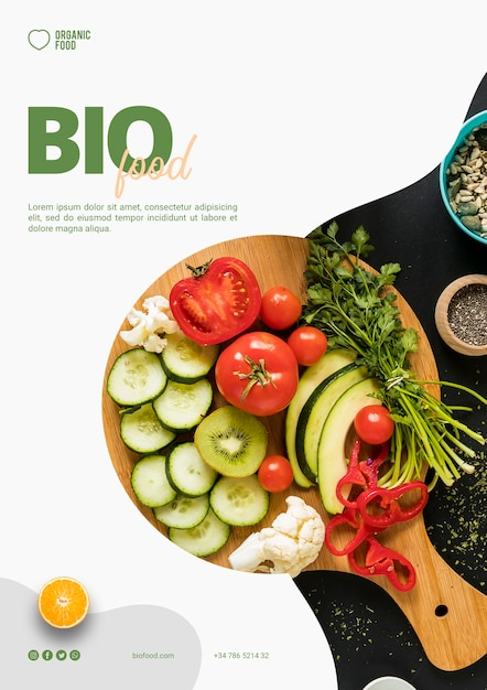 Bio food flyer template with photo Premium Psd