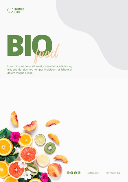 Bio food flyer template with photo PSD file | Free Download