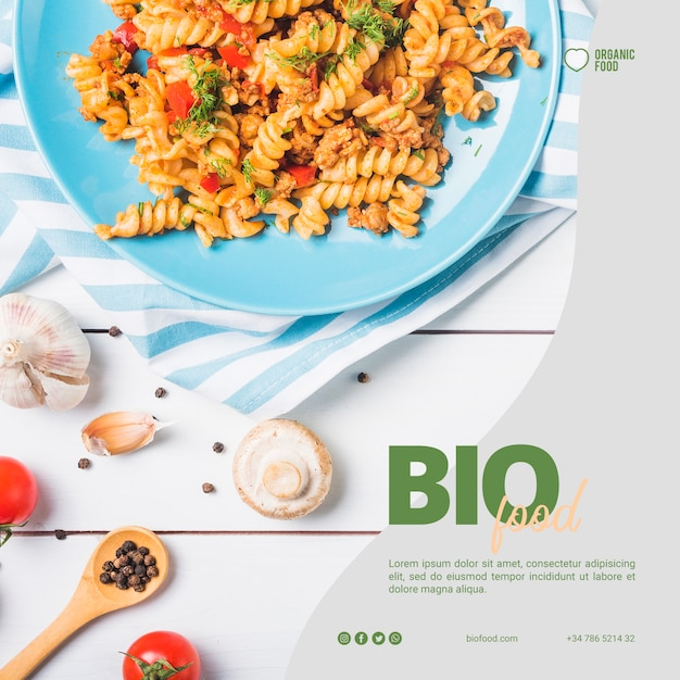 Bio food square banner template Free Psd