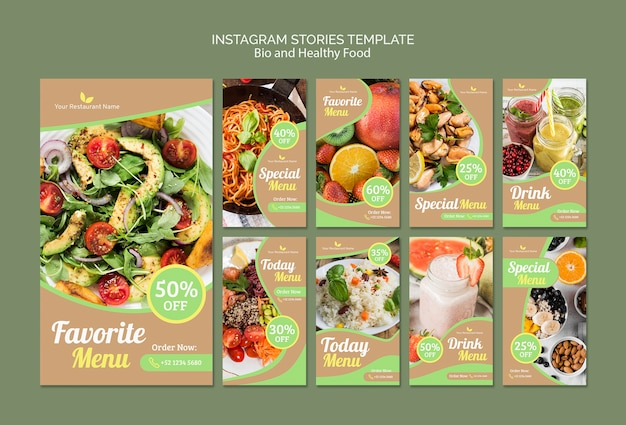 Bio and healthy instagram stories template Free Psd
