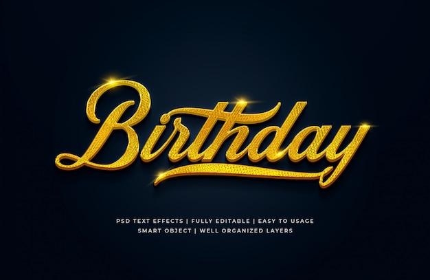 Birthday 3d text style effect Premium Psd