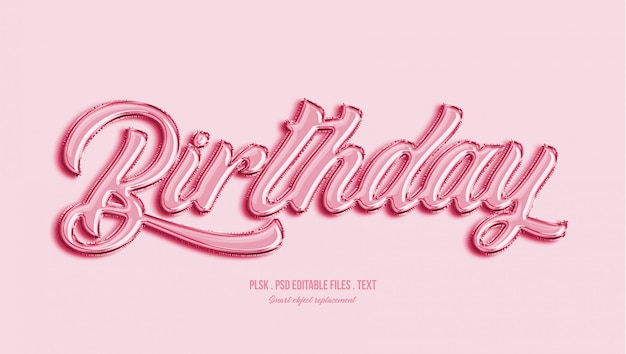 Birthday 3d text style effect Premium Psd