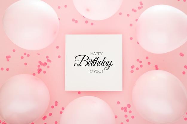 핑크색 색종이와 풍선 생일 배경 무료 PSD 파일