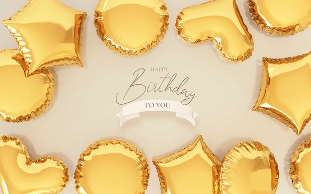 Birthday background with realistic golden balloons Free Psd