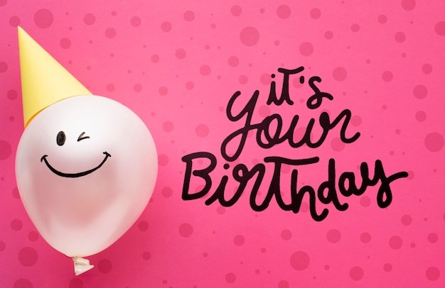 Birthday balloons with white lettering Free Psd