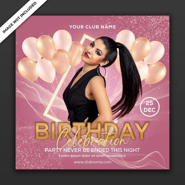 Birthday celebration party, poster event template, square size Premium Psd