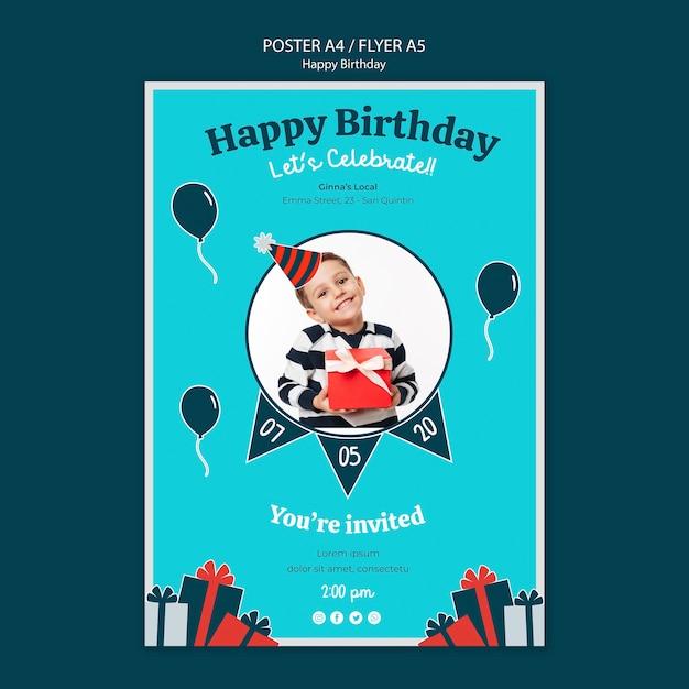 Шаблон плаката празднования дня рождения Бесплатные Psd