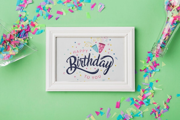 Birthday frame mock-up with confetti Free Psd