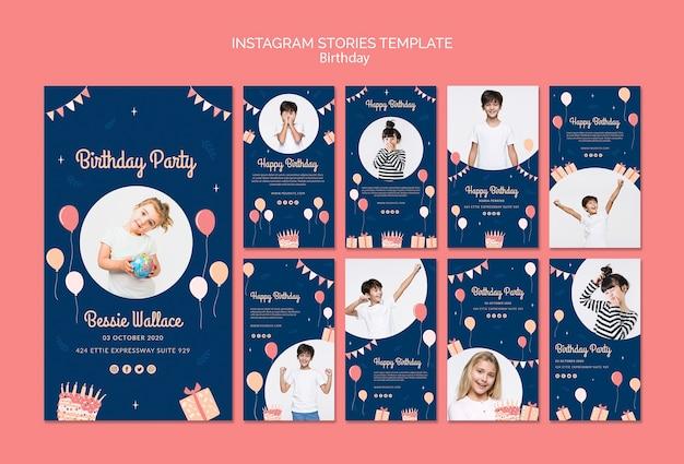 Modello di storie di instagram di compleanno Psd Gratuite