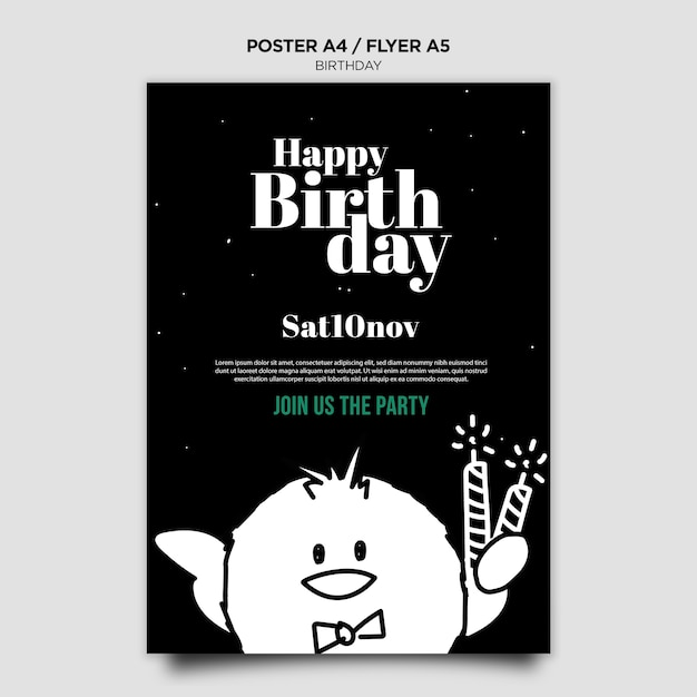 Birthday invitation poster template   Free PSD File
