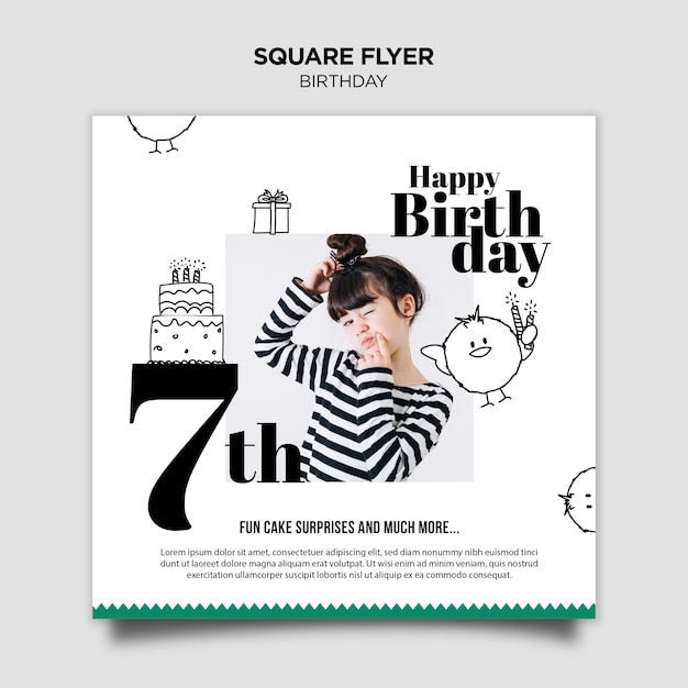 Приглашение на день рождения квадратный флаер Бесплатные Psd