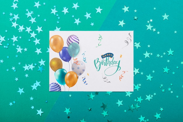 Birthday mock-up with metallic stars Free Psd