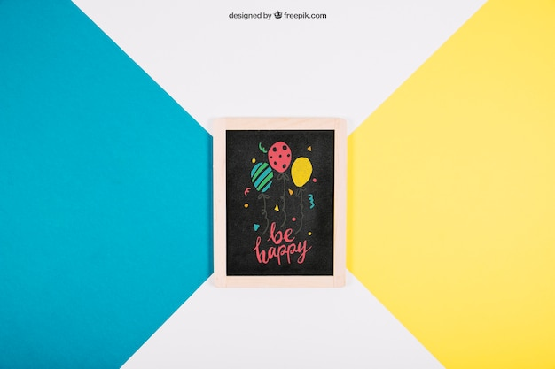 Birthday mockup with slate Free Psd