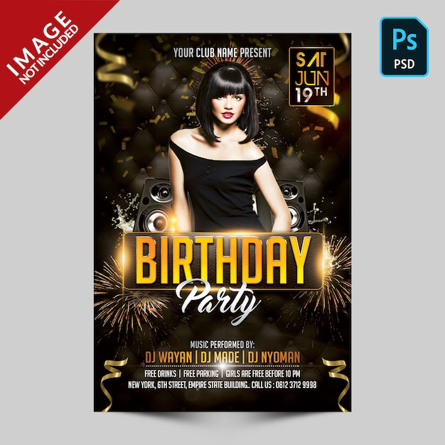 Birthday party flyer template Premium Psd
