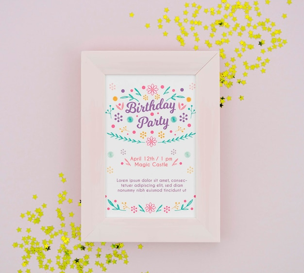 Birthday party poster in frame with golden confetti Free Psd