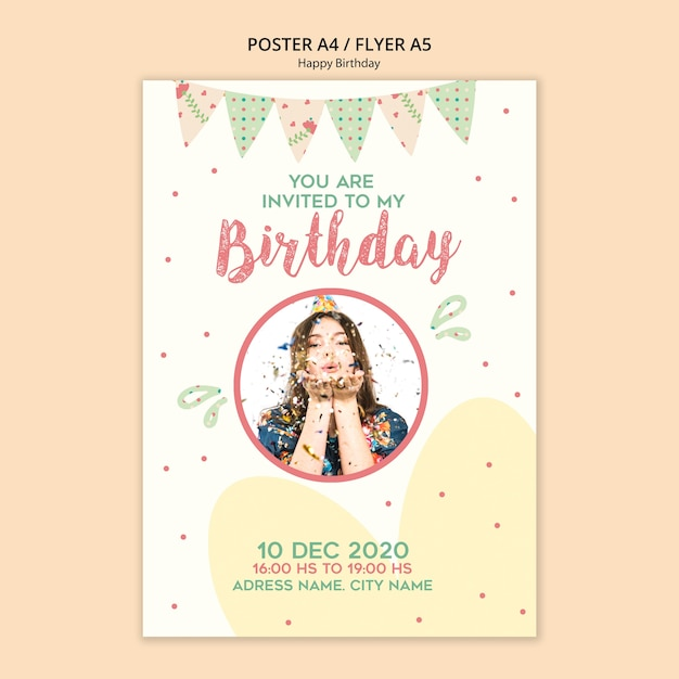 Birthday party poster template with photo   Free PSD File