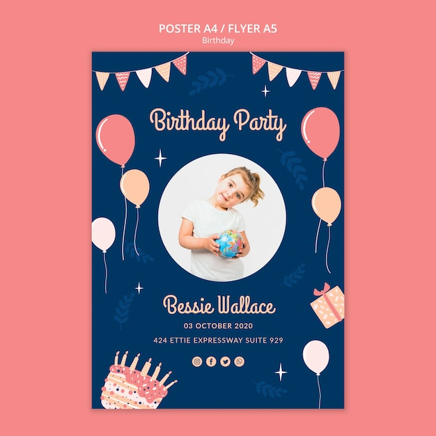 Birthday party poster template Free Psd