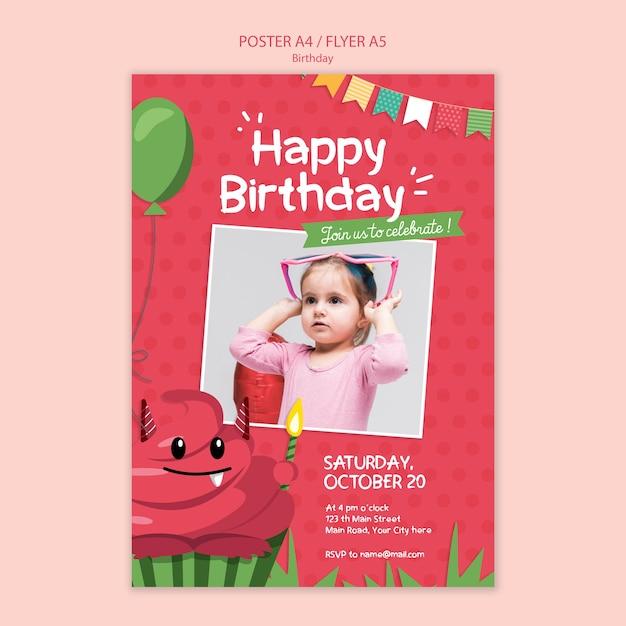 День рождения плакат концепции шаблона Бесплатные Psd
