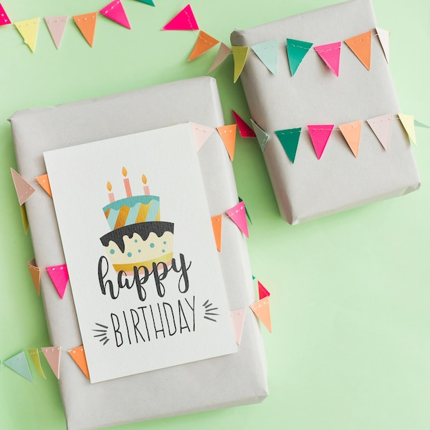 Birthday present mockup Free Psd