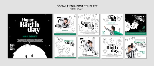 엽서 템플릿-생일 소셜 미디어 무료 PSD 파일
