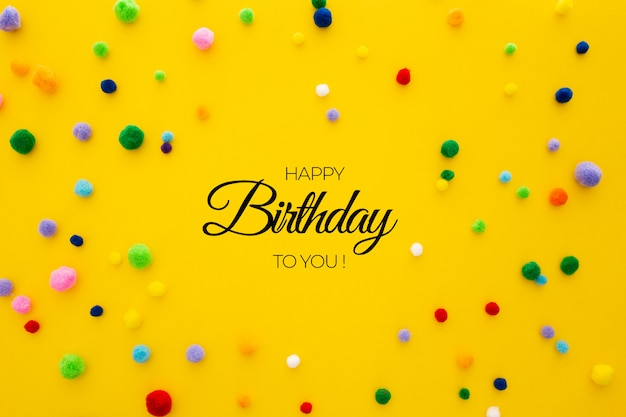 Birthday template on yellow background Free Psd