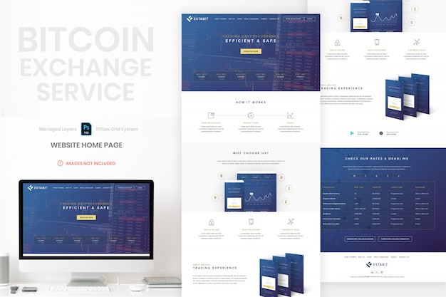 Bitcoin website home page template PSD file | Premium Download