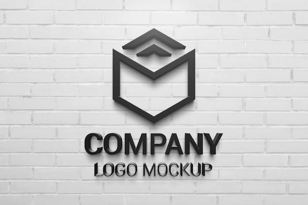 Black 3d logo mockup on white brick wall. company branding presentation Premium Psd