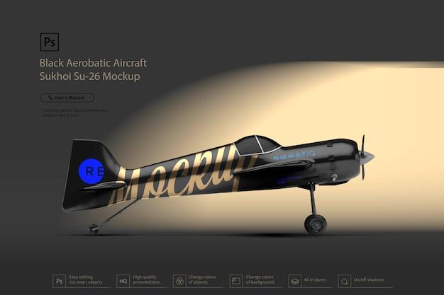Черный пилотажный самолет сухой макет Premium Psd