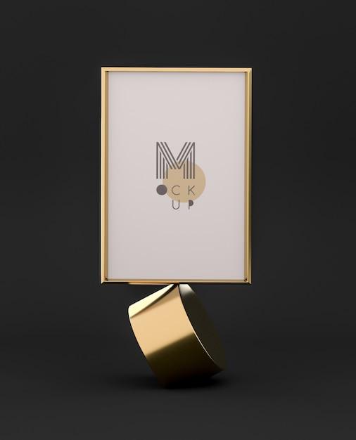 Черно-золотой 3d кадр макет Бесплатные Psd