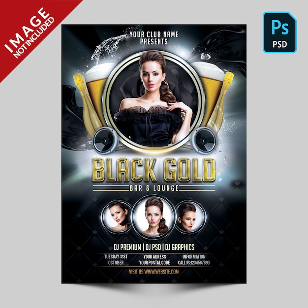Black and gold party flyer Premium Psd