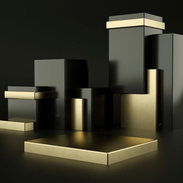 제품 프리젠 테이션을위한 검정색 및 금색 연단 프리미엄 PSD 파일
