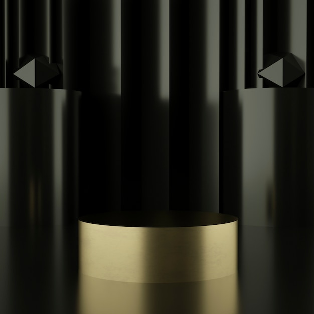 Черные и золотые подиумы для презентации продукта Premium Psd