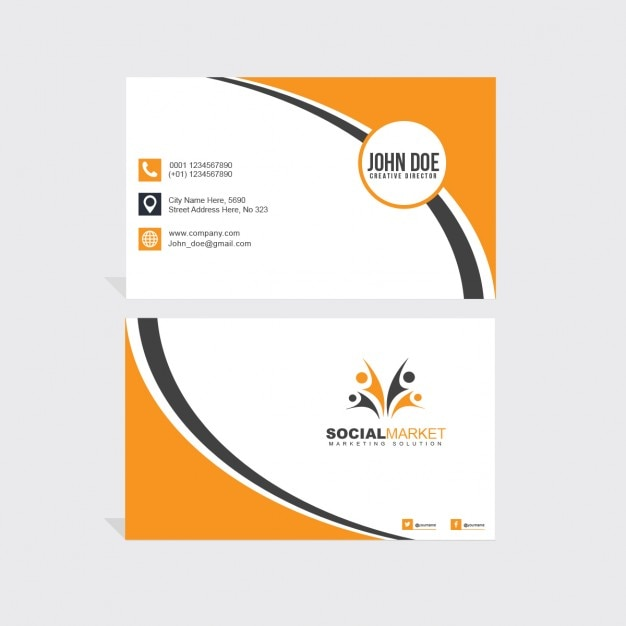 Black and orange business card Free Psd