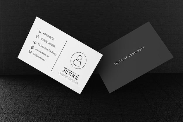 Шаблон макета бумаги черно-белые визитки с крышкой пустого пространства Premium Psd