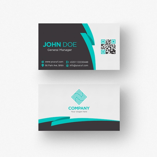Cards psd 2100 free psd files black and white business card with aquamarine details reheart Image collections