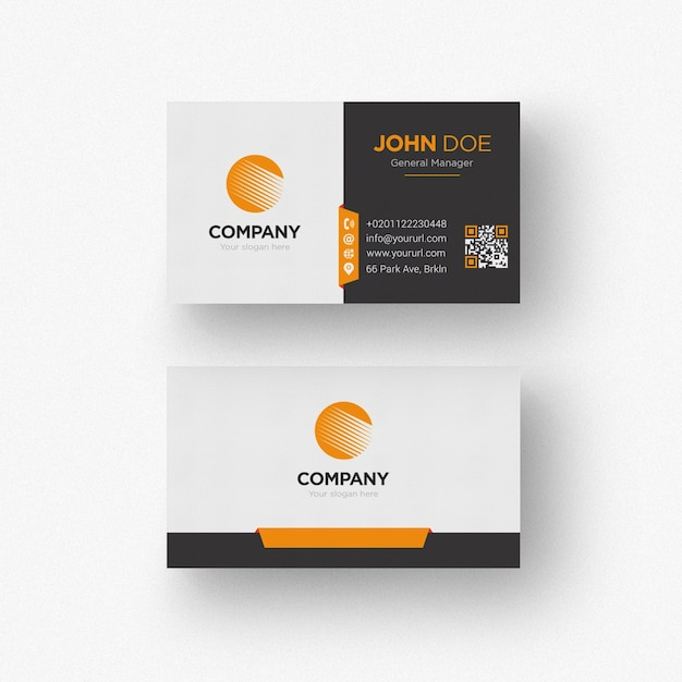 Black and white business card with orange details Free Psd