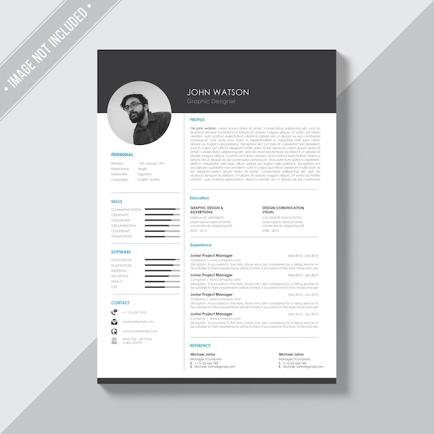 Black And White Cv Template Free Psd