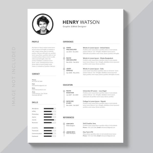 black and white resume psd file premium download