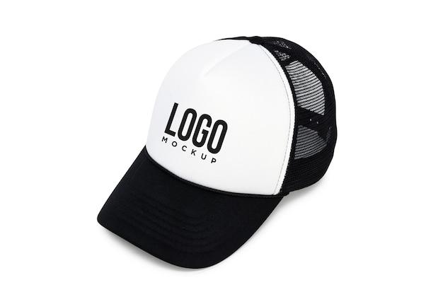 흑인과 백인 스포츠 모자 로고 모형 프리미엄 PSD 파일