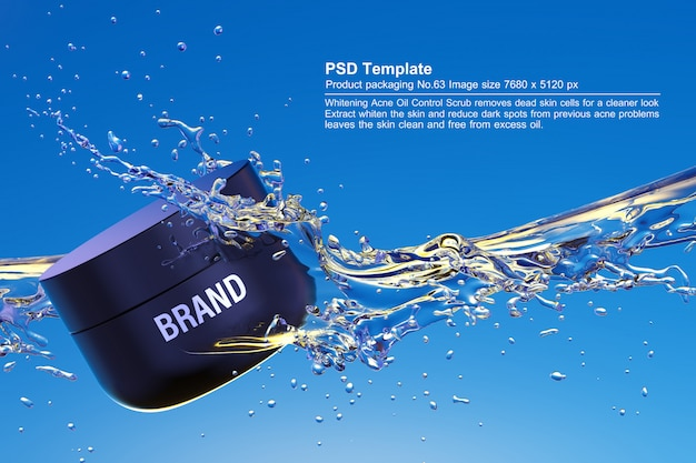 Black beauty product in blue water background 3d render Premium Psd