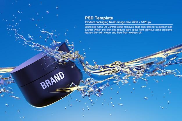 Черный косметический продукт на синем фоне воды 3d визуализации Premium Psd