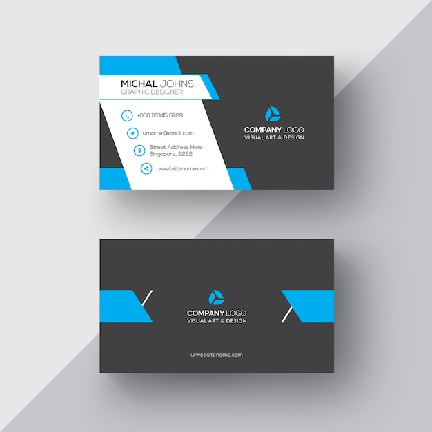 Black And Blue Business Card Psd File Free Download