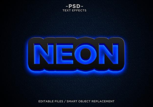 Черный синий неоновые эффекты редактируемый текст Premium Psd