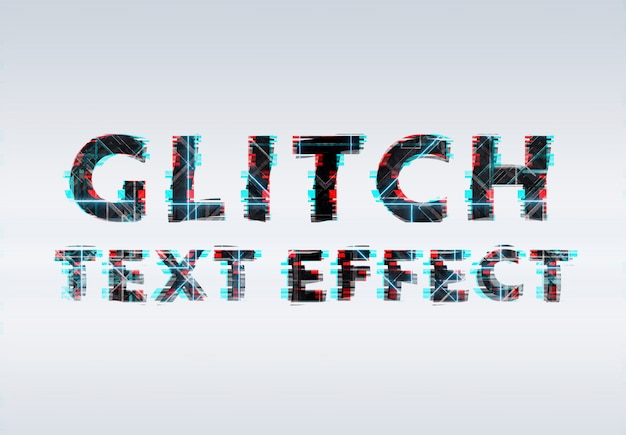 Black blue and red glitch neon text effect Premium Psd
