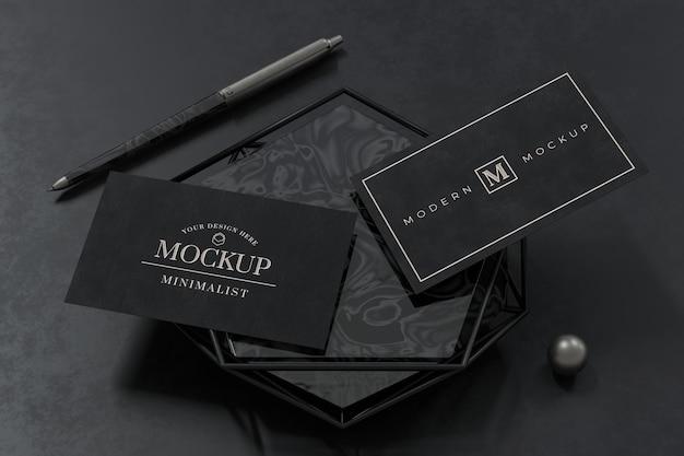 3d 렌더링에 검은 명함 모형 디자인 프리미엄 PSD 파일